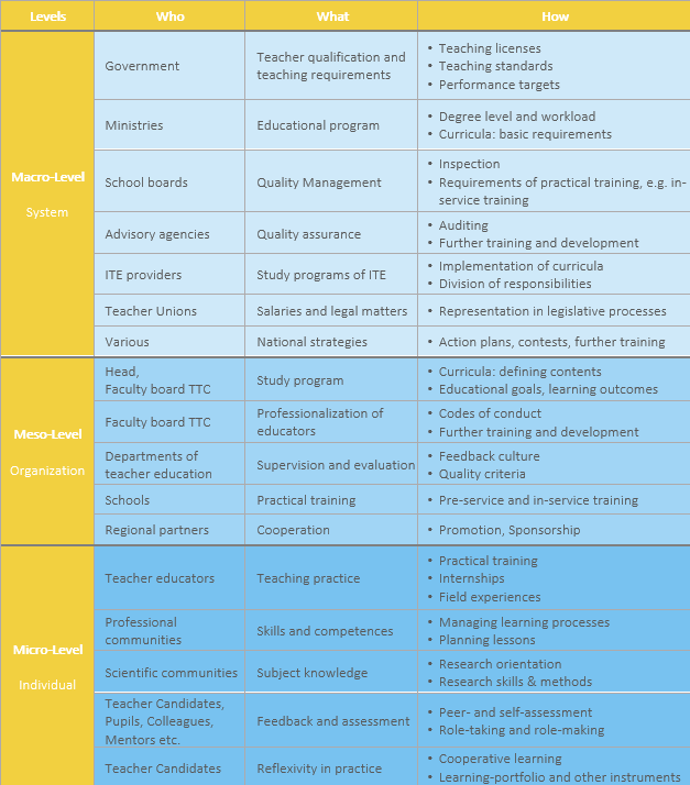 Figure 4: Comparative Framework of ITE (based on Snoek & Zogla, 2009, p. 13). The Figure presents a general structure, how ITE could be institutionalized and organized across different levels. This structure varies across countries.